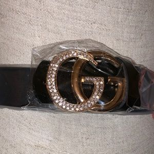 GC inspired cow hide leather belt gold buckle